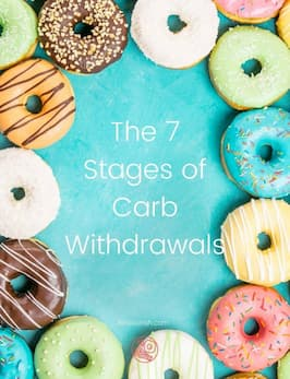 the 7 stages of carb withdrawals donuts on blue background
